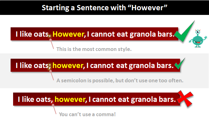 Starting A Sentence With However